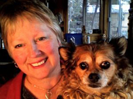 Susie Slanina and Metro the little dog