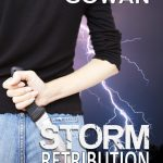 cover for Storm Retribution by Pamela Cowan, woman holding knife behind her back