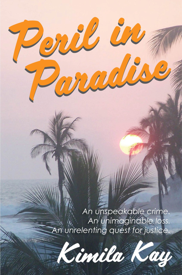 Peril in Paradise cove by Kimila Kay shows windswept beach with palm trees