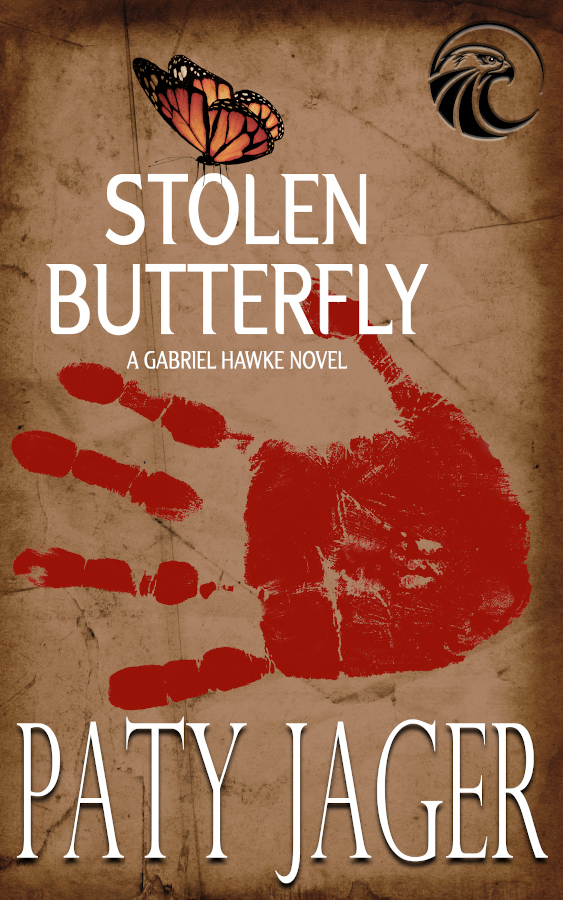 Cove for Stolen Butterfly, Gabriel Hawke novel #7. Features a bloody handprint and tan background with a butterfly above the thumb